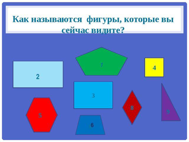 Как называются фигуры, которые вы сейчас видите? 3 4 6 9 8 2 5 3 4 9 1 8 2 5 6
