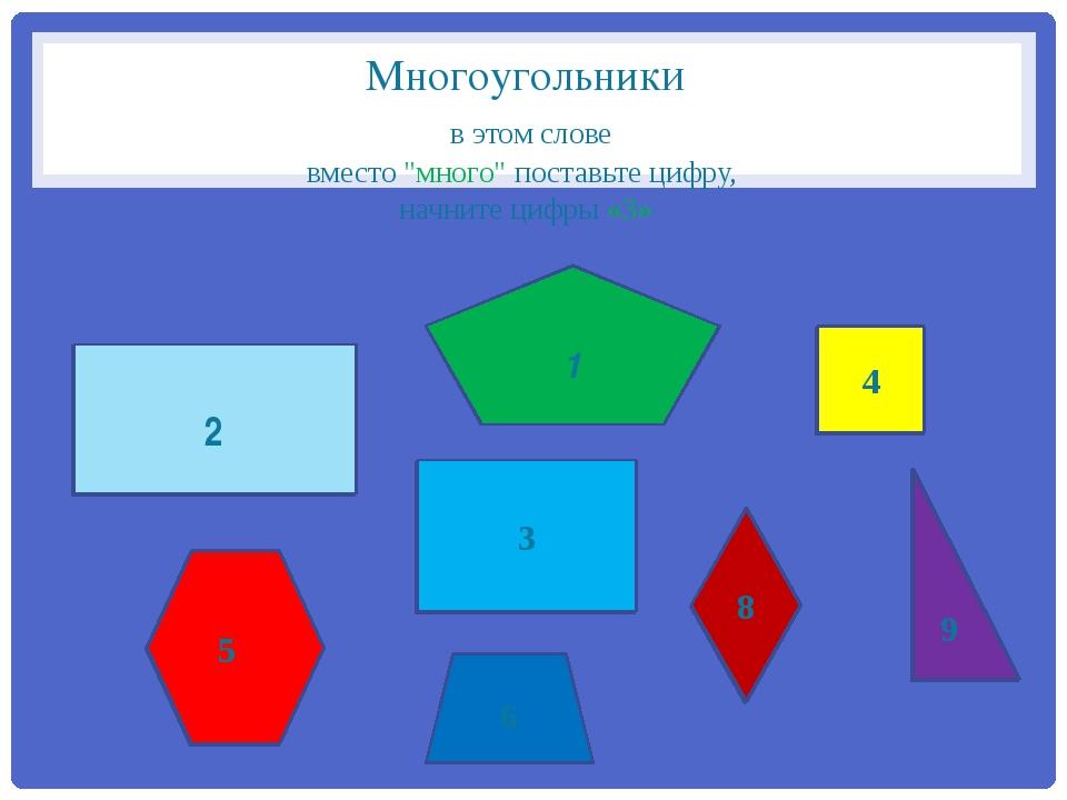 """Многоугольники в этом слове вместо """"много"""" поставьте цифру, начните цифры «3»..."""