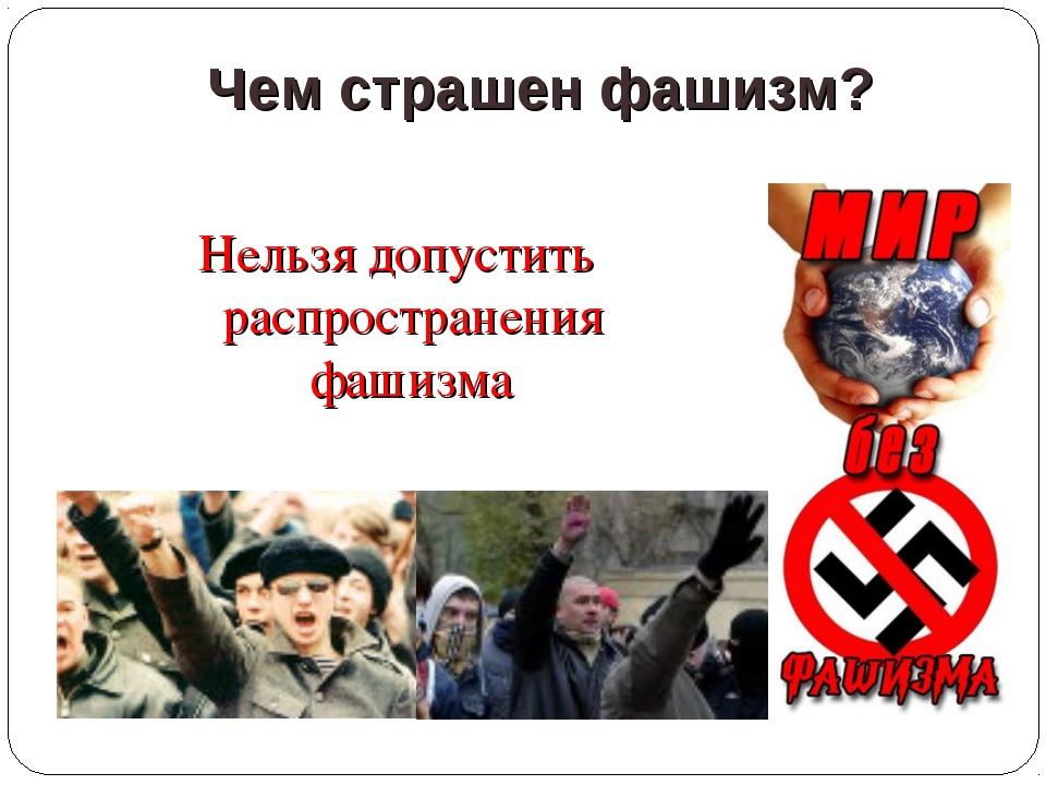 Чем страшен фашизм? Нельзя допустить распространения фашизма
