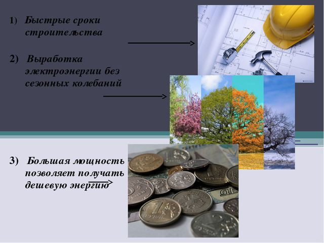 1) Быстрые сроки строительства 2) Выработка электроэнергии без сезонных колеб...