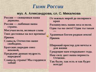 Гимн России муз. А. Александрова, сл. С. Михалкова Россия — священная наша д