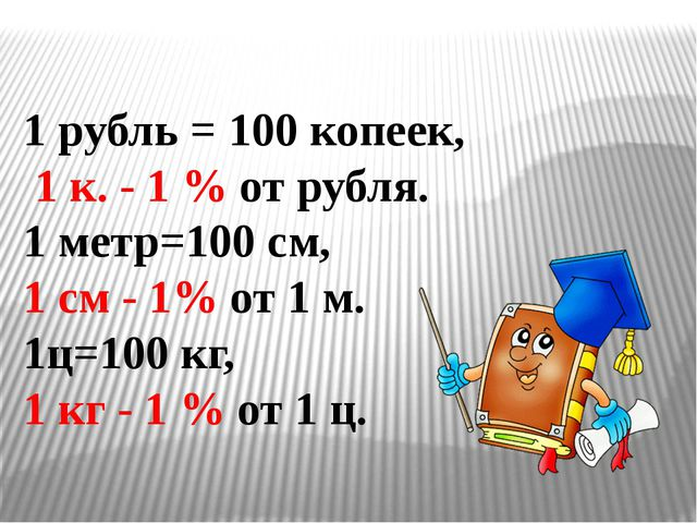 1 рубль = 100 копеек, 1 к. - 1 % от рубля. 1 метр=100 см, 1 см - 1% от 1 м. 1...