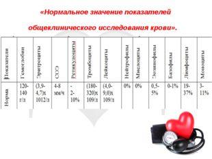 «Нормальное значение показателей общеклинического исследования крови».