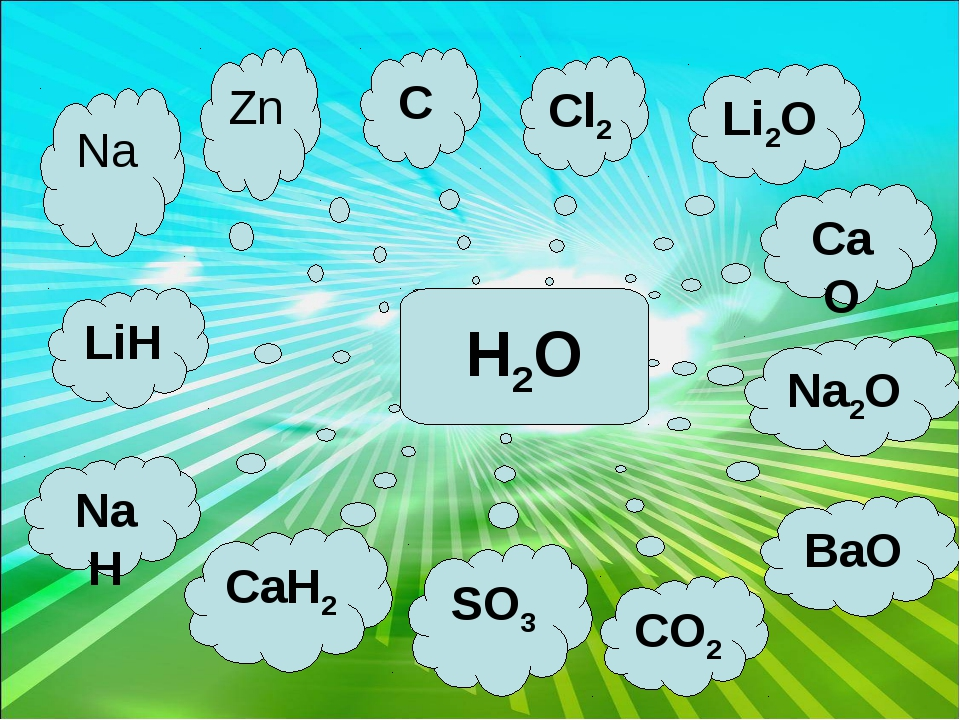Cl2 C Zn CaO Na2O Na LiH CaH2 SO3 CO2 Li2O BaO NaH H2O