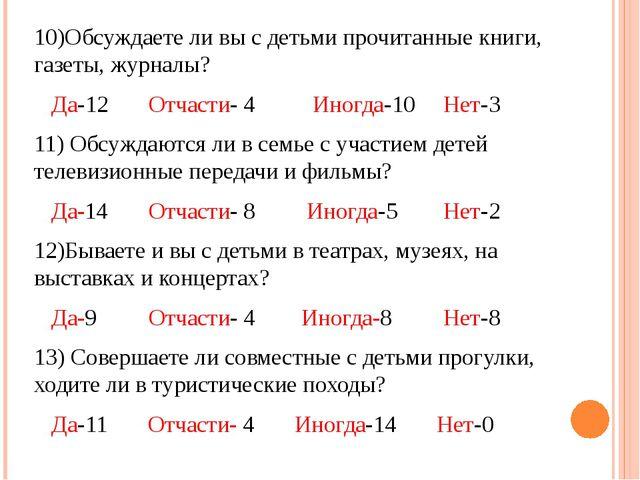 10)Обсуждаете ли вы с детьми прочитанные книги, газеты, журналы? Да-12 Отчаст...
