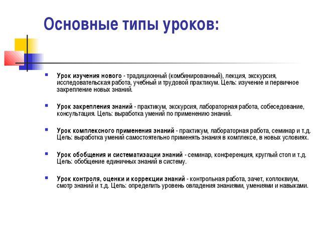 Основные типы уроков: Урок изучения нового - традиционный (комбинированный),...
