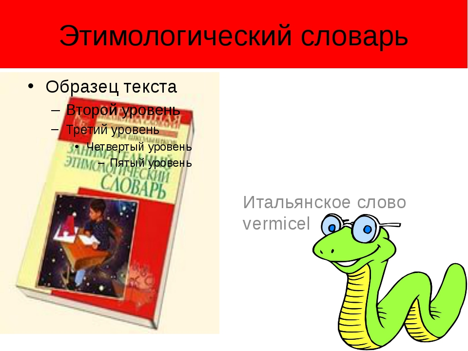 Этимологический словарь Итальянское слово vermicelli – червячки