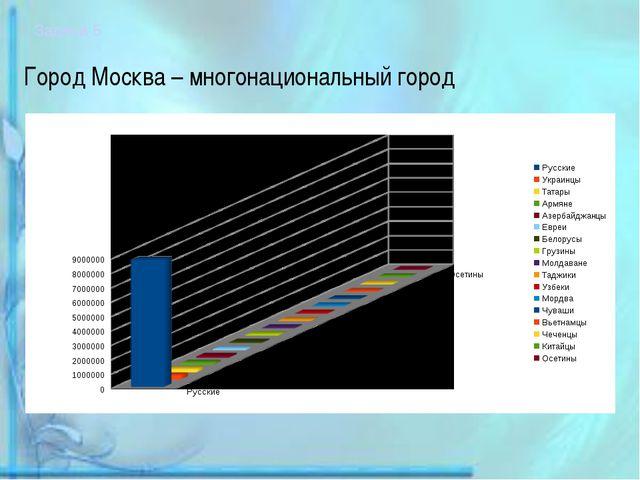 Город Москва – многонациональный город Задача 5. Построить круговую диаграмму...
