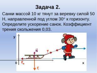 Задача 2. Санки массой 10 кг тянут за веревку силой 50 Н, направленной под уг