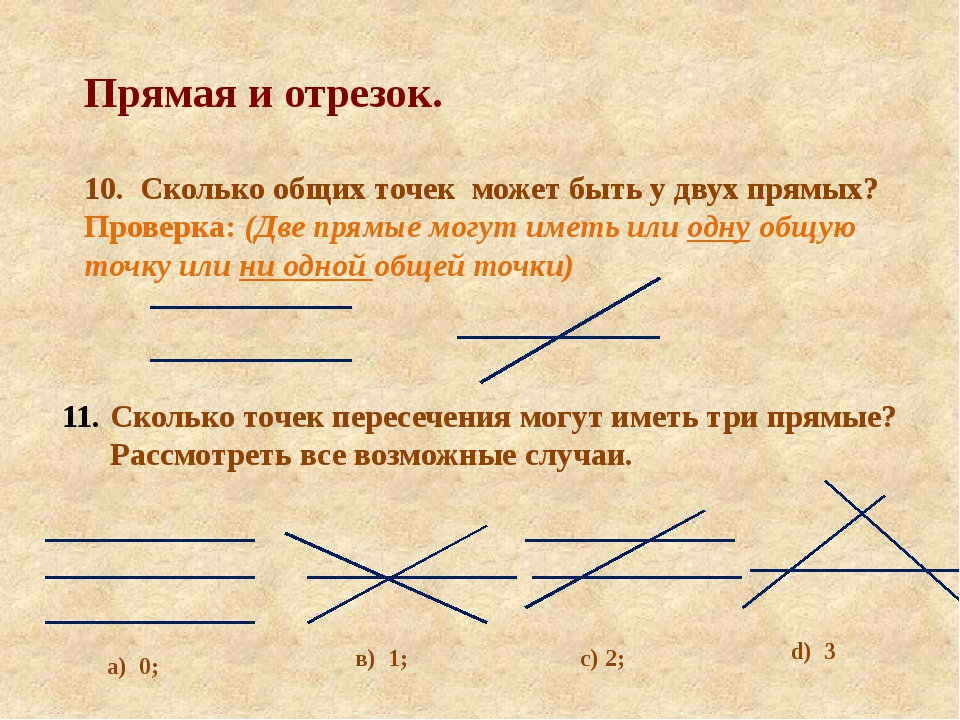 Прямая и отрезок. 10. Сколько общих точек может быть у двух прямых? Проверка:...