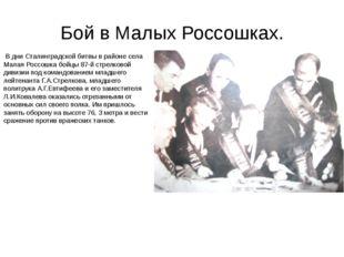 Бой в Малых Россошках. В дни Сталинградской битвы в районе села Малая Россошк
