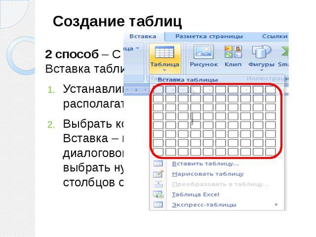 Создание таблиц 2 способ – С помощью диалогового окна Вставка таблицы Устанав...