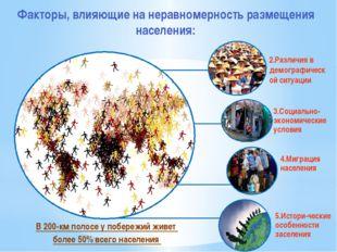 Факторы, влияющие на неравномерность размещения населения: