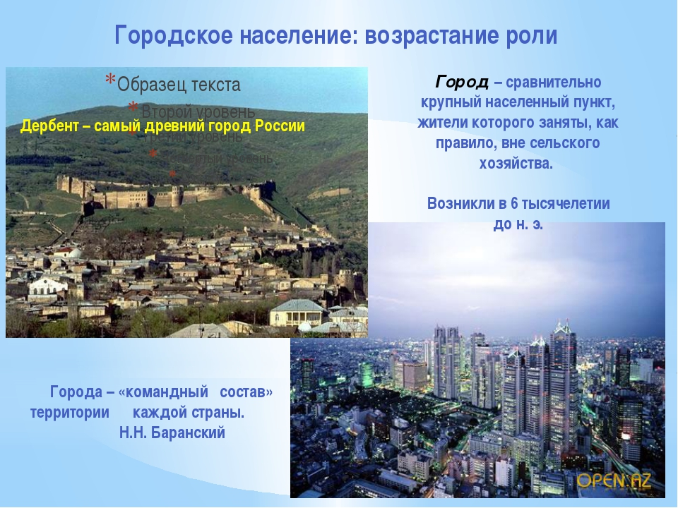Городское население: возрастание роли Города – «командный состав» территории...