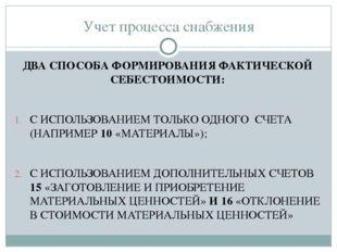 Учет процесса снабжения ДВА СПОСОБА ФОРМИРОВАНИЯ ФАКТИЧЕСКОЙ СЕБЕСТОИМОСТИ: С
