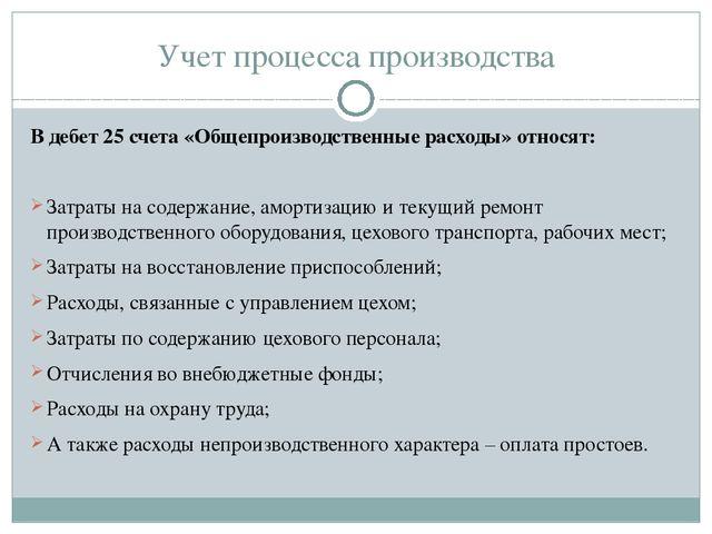 Учет процесса производства В дебет 25 счета «Общепроизводственные расходы» от...