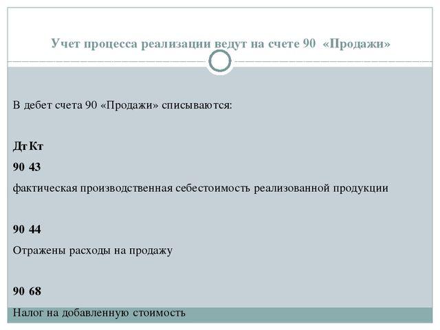 Учет процесса реализации ведут на счете 90 «Продажи» В дебет счета 90 «Продаж...