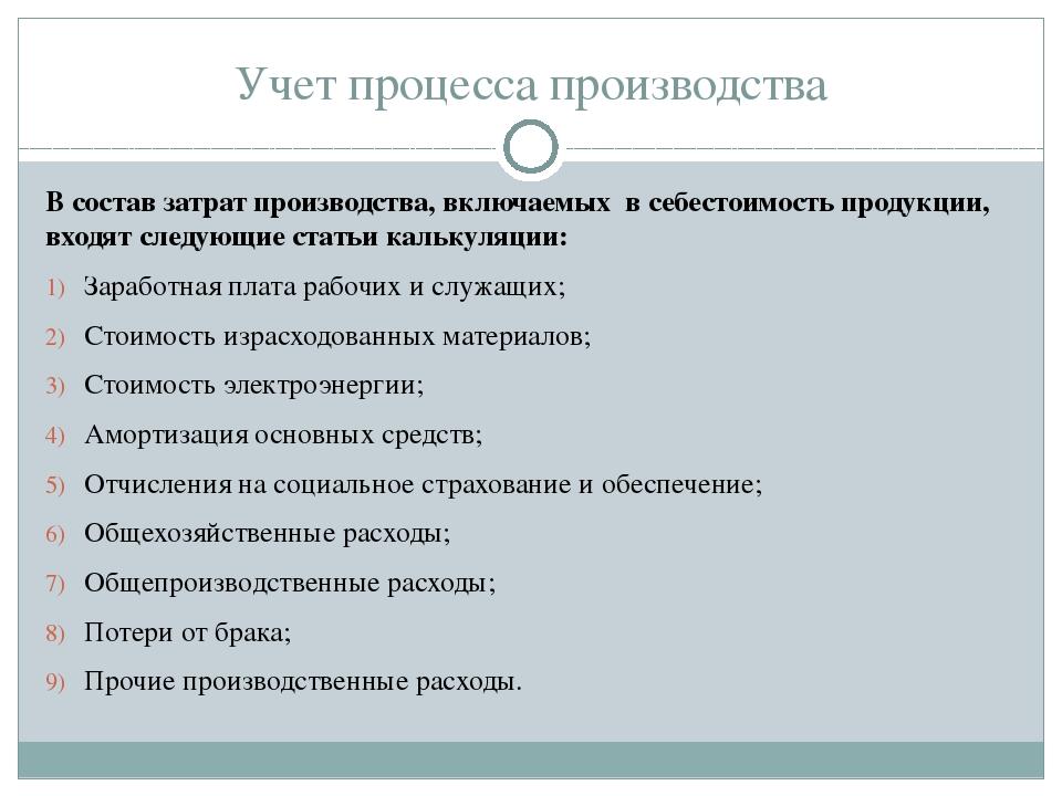 Учет процесса производства В состав затрат производства, включаемых в себесто...