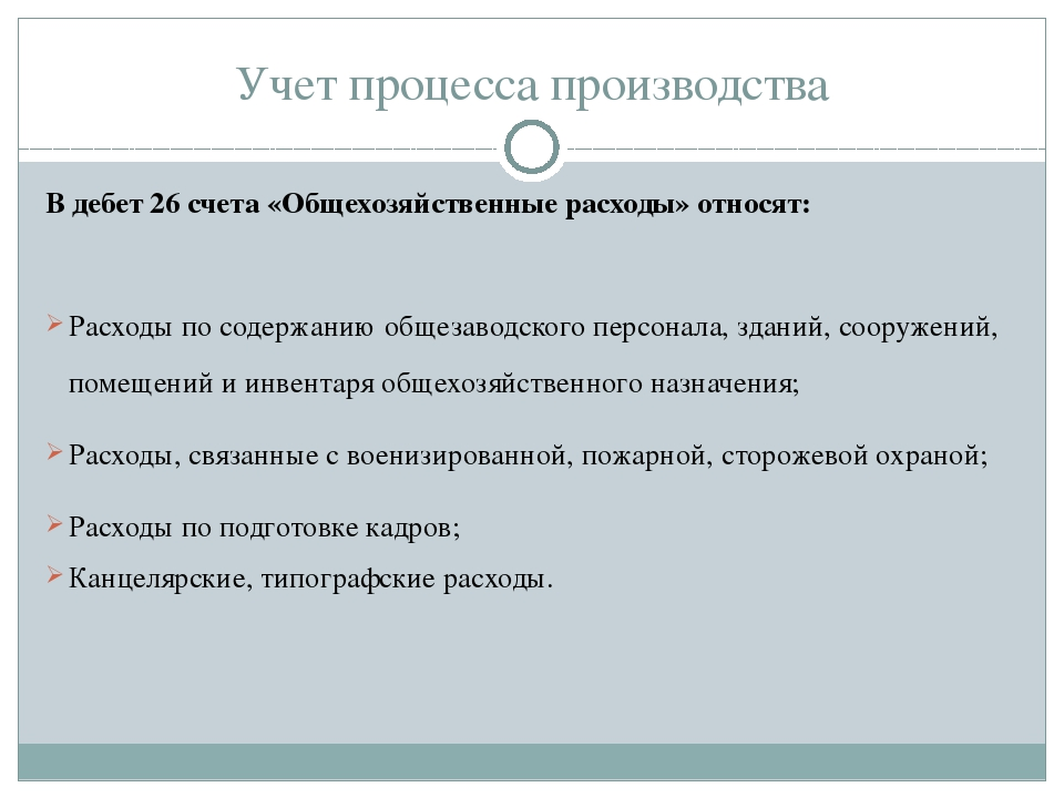 Учет процесса производства В дебет 26 счета «Общехозяйственные расходы» относ...