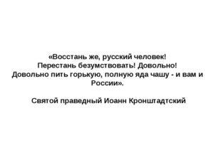 «Восстань же, русский человек! Перестань безумствовать! Довольно! Довольно пи