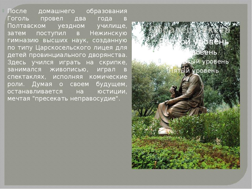 После домашнего образования Гоголь провел два года в Полтавском уездном учили...