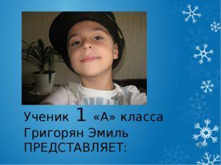 Ученик 1 «А» класса Григорян Эмиль ПРЕДСТАВЛЯЕТ: