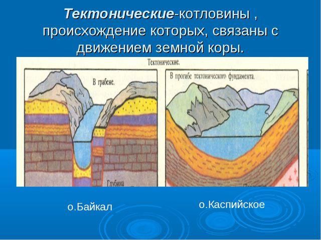 Тектонические-котловины , происхождение которых, связаны с движением земной к...