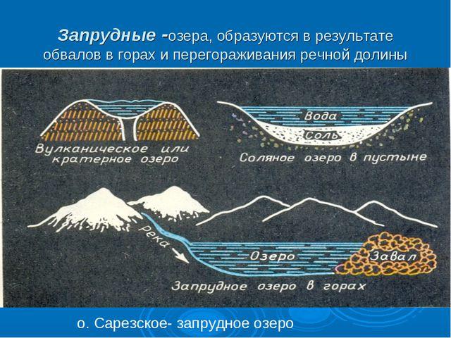 Запрудные -озера, образуются в результате обвалов в горах и перегораживания р...