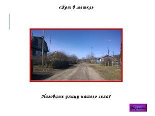 «Кот в мешке» Обратно Назовите улицу нашего села?