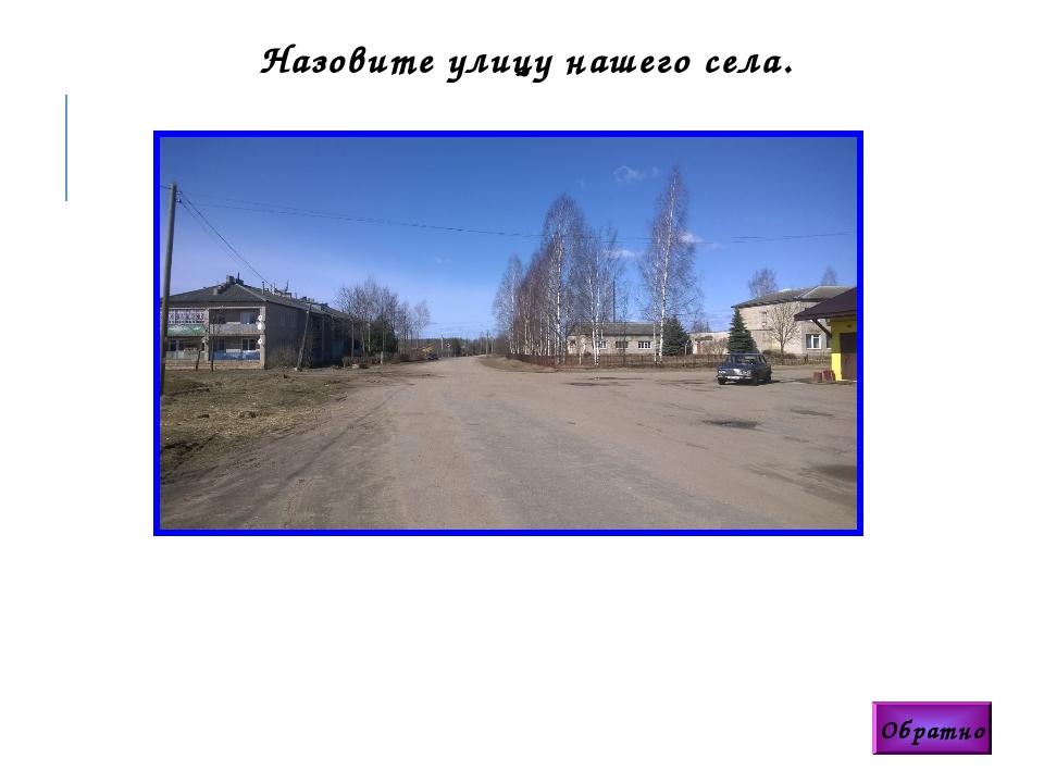 Обратно Назовите улицу нашего села.