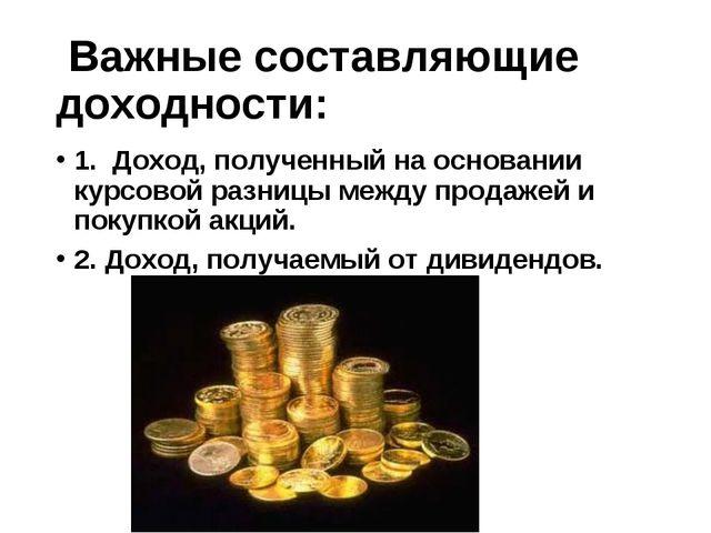 Важные составляющие доходности: 1. Доход, полученный на основании курсовой...