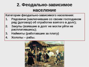 2. Феодально-зависимое население Категории феодально-зависимого населения: Ря