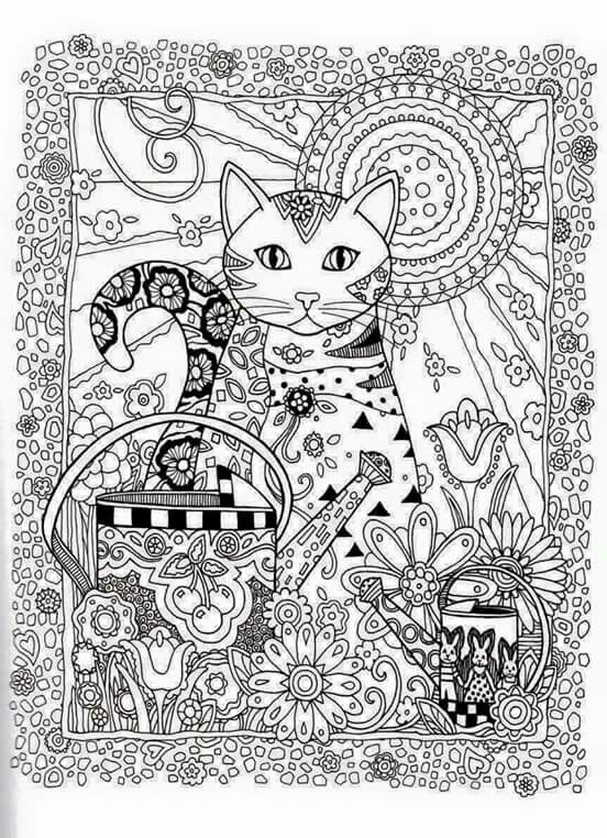 Cat Abstract Doodle Zentangle Paisley Coloring pages colouring adult detailed advanced printable vidrinhospreciosos.blogspot.com: