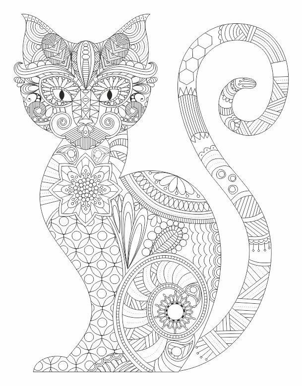 Cat entangle Coloring pages colouring adult detailed advanced printable Kleuren voor volwassenen coloriage pour adulte anti-stress kleurplaat voor volwassenen Line Art Black and White: