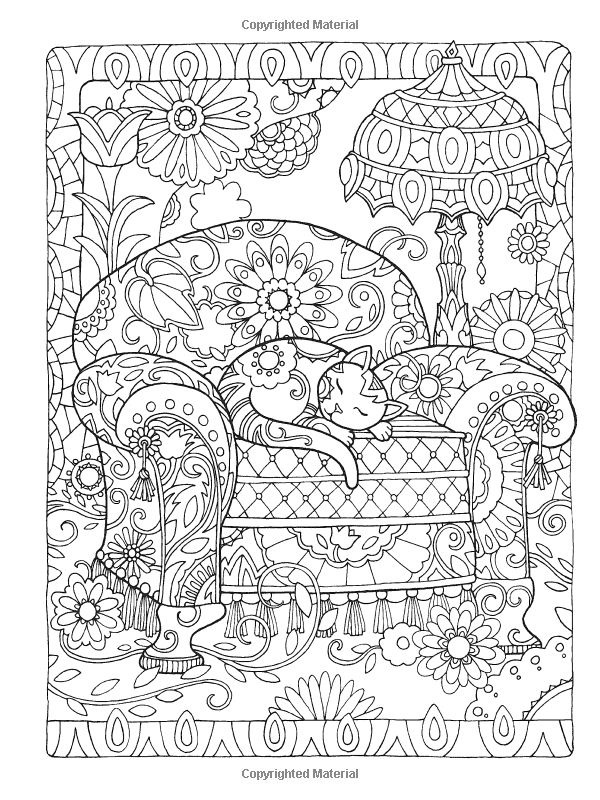 Dover Publications Creative Haven Creative Cats Coloring Book artwork by Marjorie Sarnat: