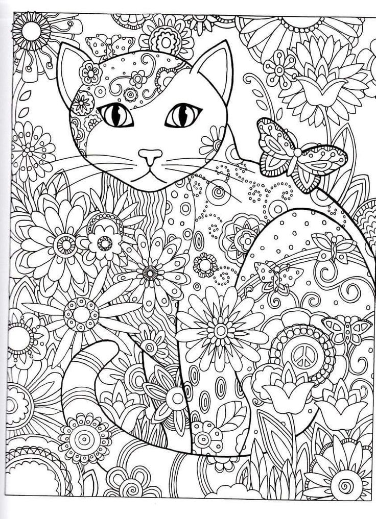 cat Abstract Doodle Zentangle Coloring pages colouring adult detailed advanced printable Kleuren voor volwassenen coloriage pour adulte anti-stress Gatos para Colorir: