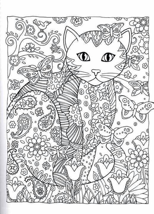Cat Cats Kitty Kitties Kitten Kittens Feline Gatos Katze chat gatto cat котэ kočka druku gato katt macska tulostettava Coloring pages colouring adult detailed advanced printable Kleuren voor volwassenen coloriage pour adulte anti-stress kleurplaat voor volwassenen Line Art Black and White Abstract Doodle Zentangle ZenDoodle Paisley: