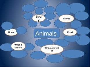 Animals Home Body Names What it can do Characteristics Food