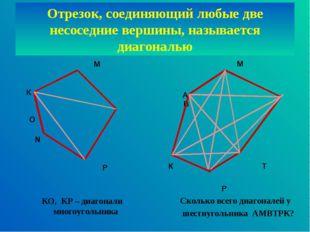 Отрезок, соединяющий любые две несоседние вершины, называется диагональю М К