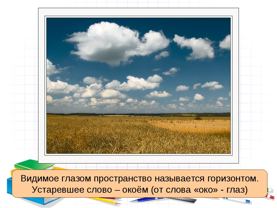 Видимое глазом пространство называется горизонтом. Устаревшее слово – окоём (...