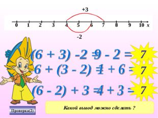 Проверка(2) -2 7 7 +3 7 Какой вывод можно сделать ?