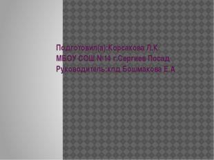 Подготовил(а):Корсакова Л.К МБОУ СОШ №14 г.Сергиев Посад Руководитель:кпд Бош