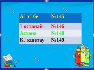 Ақтөбе №145 Қостанай №146 Астана №148 Көкшетау №149