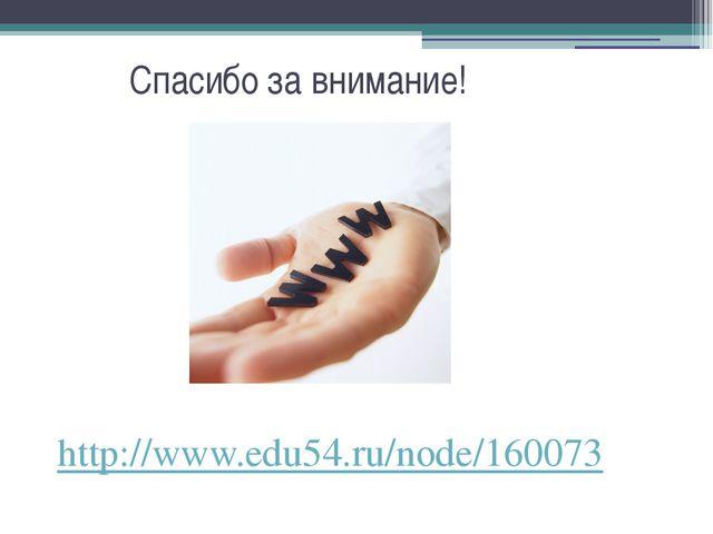 Спасибо за внимание! http://www.edu54.ru/node/160073