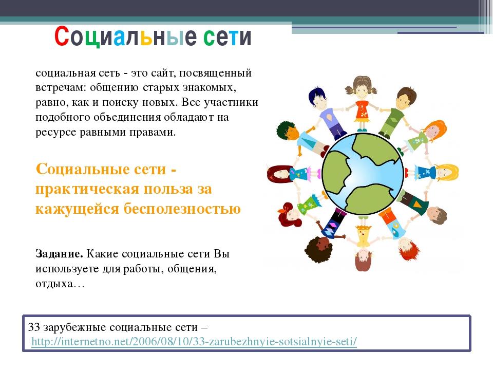 Социальные сети 33 зарубежные социальные сети – http://internetno.net/2006/08...