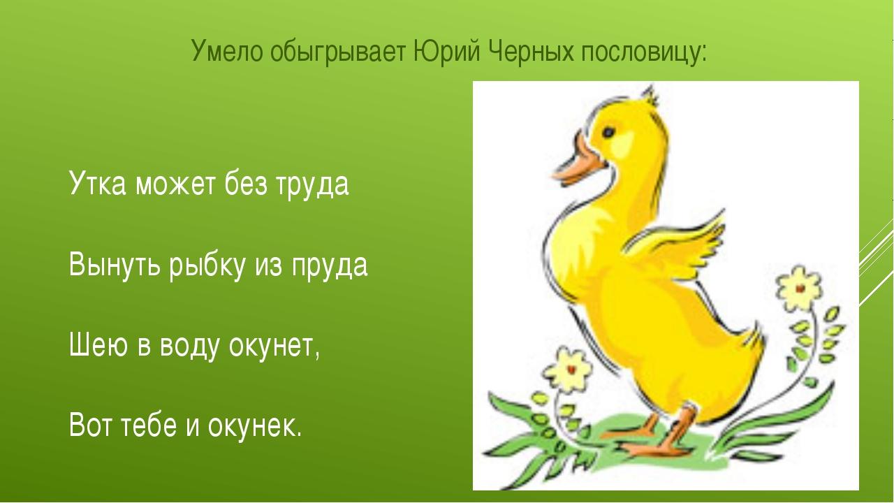 Умело обыгрывает Юрий Черных пословицу: Утка может без труда Вынуть рыбку из...