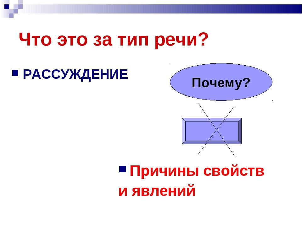 Что это за тип речи? РАССУЖДЕНИЕ Причины свойств и явлений Почему?