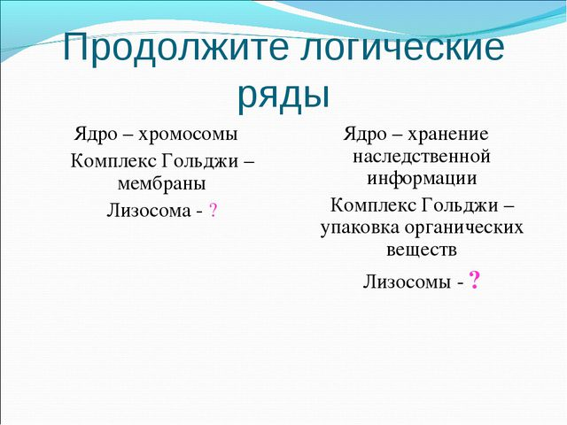 Продолжите логические ряды Ядро – хромосомы Комплекс Гольджи – мембраны Лиз...