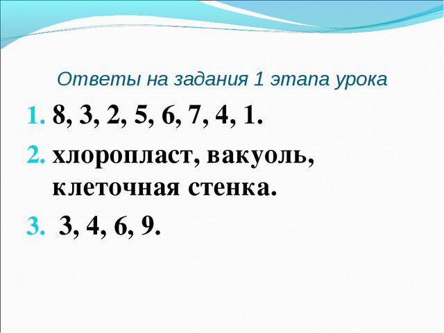 Ответы на задания 1 этапа урока 8, 3, 2, 5, 6, 7, 4, 1. хлоропласт, вакуоль,...