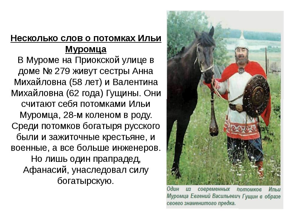 Несколько слов о потомках Ильи Муромца В Муроме на Приокской улице в доме №...